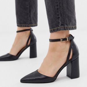 RAID Katy Black Snake Pointed Toe Ankle Wrap Heels